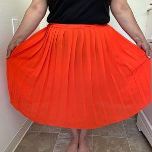 Dresses & Skirts - Plus Size Pleated Blood Orange Skirt